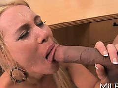 Gorgeous babe is being fucked hard by a tough stud