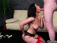 Horny hottie gets cumshot on her face swallowing all the cha