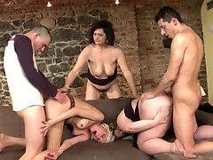 Group fuck with mature moms and young boys