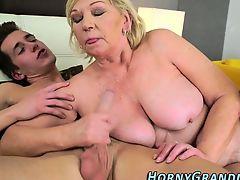 Mature granny rides cock