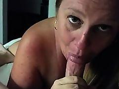 Puffy mature sucks cock till it cums