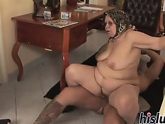 Chubby grandmother pleasures a thick boner