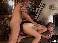 Lovable chick gapes tight muff and gets deflowered
