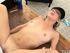 Schoolgirl struggles with a mature ramrod also huge for her