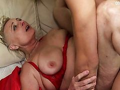 Natural tits model dick sucking