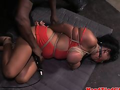 Latina slave gets breasts tied up tightly