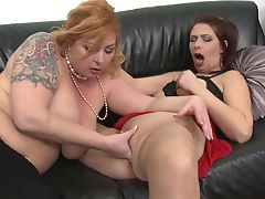 Mature busty mothers fuck each other with double dildo
