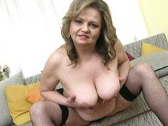 beautiful bella plays with her breasts and hairy pussy