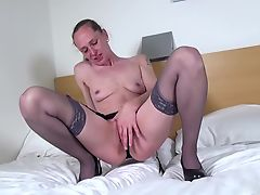 Amateur skinny mom with small tits and hungry cunt