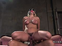 Busty sub electro shocked and anal fucked