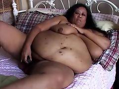 Super sized big beautiful woman SSBBW frigs her fat cunt