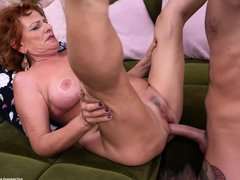 Cock Loving Granny With Red Hair, Sally G Is Using Her Deep Throat To Please Younger Guys