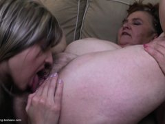 Oh yeah, take a look at this younger lesbian licking that fat hairy cunt. The mature whore keeps her