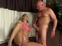 Beautiful cigarette smoking blonde with amazing tits sucks this dude's jizz out