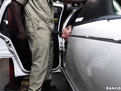 choking on the mechanic's big black cock