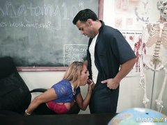 busty teacher sucks the janitor's cock