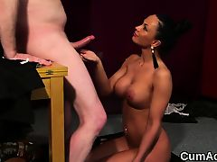 Flirty beauty gets jizz load on her face eating all the jism
